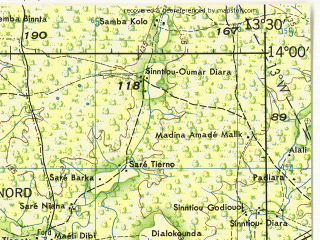 Reduced fragment of topographic map en--jog--250k--nd28-11--(1966)--N014-00_W015-00--N013-00_W013-30; towns and cities Tambacounda, Velingara, Neteboulou, Kass Wollof, Sare Bodia