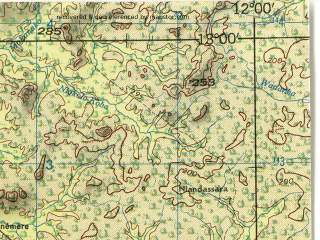 Reduced fragment of topographic map en--jog--250k--nd28-16--(1966)--N013-00_W013-30--N012-00_W012-00; towns and cities Kedougdu, Bantiniel, Dar Salam, Kifaya