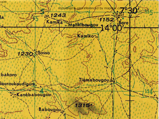 Reduced fragment of topographic map en--jog--250k--nd29-11--(1975)--N014-00_W009-00--N013-00_W007-30; towns and cities Kolokani, Sebekoro, Doumba, Sirakorola