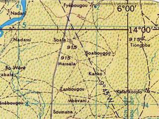 Reduced fragment of topographic map en--jog--250k--nd29-12--(1961)--N014-00_W007-30--N013-00_W006-00; towns and cities Segou, Markala, Banamba, Kaban, Souba
