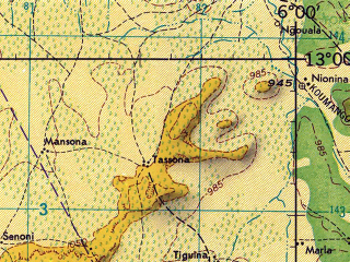 Reduced fragment of topographic map en--jog--250k--nd29-16--(1966)--N013-00_W007-30--N012-00_W006-00 in area of Bani; towns and cities Fana, Dioila, Senou, Dioumansana