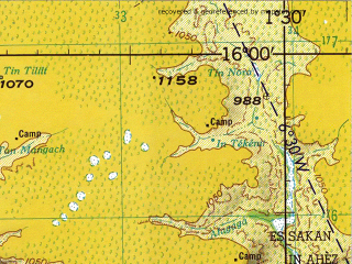 Reduced fragment of topographic map en--jog--250k--nd31-01--(1966)--N016-00_E000-00--N015-00_E001-30; towns and cities Ankoum, Ansongo, Boya Goundya