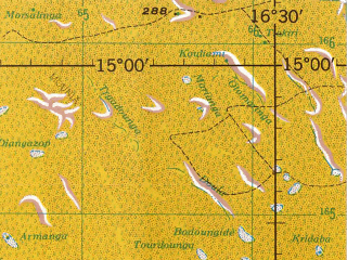 Reduced fragment of topographic map en--jog--250k--nd33-07--(1967)--N015-00_E015-00--N014-00_E016-30; towns and cities Diara, Sountra