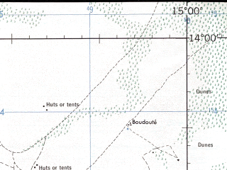 Reduced fragment of topographic map en--jog--250k--nd33-10--(1973)--N014-00_E013-30--N013-00_E015-00; towns and cities Baga