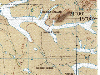 Reduced fragment of topographic map en--jog--250k--nd34-06--(1967)--N015-00_E019-30--N014-00_E021-00; towns and cities Garada, Koibo, Madamdama