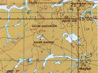 Reduced fragment of topographic map en--jog--250k--nd34-07--(1967)--N015-00_E021-00--N014-00_E022-30; towns and cities Kounoungo, Barkala, Birak