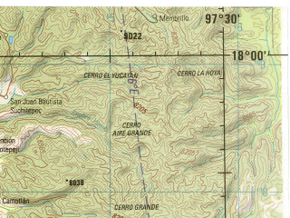Reduced fragment of topographic map en--jog--250k--ne14-08--(1998)--N018-00_W099-30--N017-00_W097-30; towns and cities Chilpancingo, Tixtla, Huajuapan De Leon, Tlaxiaco, Chalcalongo