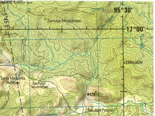 Reduced fragment of topographic map en--jog--250k--ne14-12--(1998)--N017-00_W097-30--N016-00_W095-30; towns and cities Zimatlan, Miahuatlan, Ocotlan De Morelos, Magdalena Tequisistlan, San Jeronimo Taviche