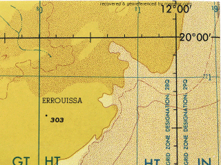 Reduced fragment of topographic map en--jog--250k--ne28-04--(1973)--N020-00_W013-30--N019-00_W012-00; towns and cities Faraoun
