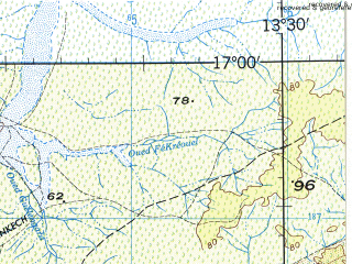 Reduced fragment of topographic map en--jog--250k--ne28-15--(1973)--N017-00_W015-00--N016-00_W013-30; towns and cities Kaedi, Podor, Bogue, Galoya, Golere