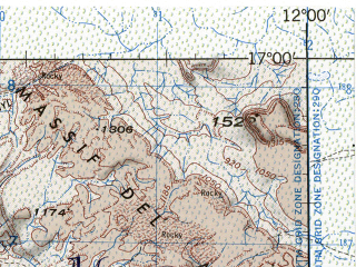 Reduced fragment of topographic map en--jog--250k--ne28-16--(1996)--N017-00_W013-30--N016-00_W012-00; towns and cities Mbout, Barkeouol, Dyovol, El Kseiba