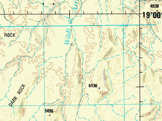 Reduced fragment of topographic map en--jog--250k--ne38-05--(1991)--N019-00_E042-00--N018-00_E043-30; towns and cities Suqah, Al Arin
