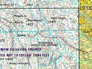 Reduced fragment of topographic map en--jog--250k--ne46-08--(1967)--N019-00_E094-30--N018-00_E096-00; towns and cities Tonbo, Ngaeindan, Yetho