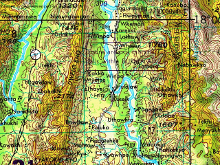 Reduced fragment of topographic map en--jog--250k--ne47-09--(1967)--N018-00_E096-00--N017-00_E097-30 in area of Thanwin Myi; towns and cities Dabein, Kyontaw, Naungbo