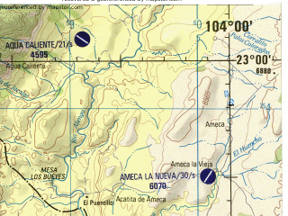 Reduced fragment of topographic map en--jog--250k--nf13-05--(1998)--N023-00_W106-00--N022-00_W104-00 in area of Laguna De Agua Brava; towns and cities Acaponeta, Tecuala, Teacapan, Agua Caliente, Dolores