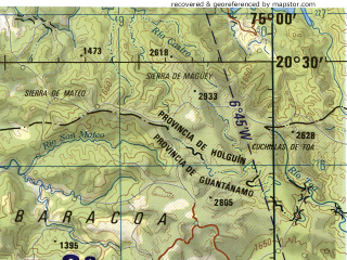 Reduced fragment of topographic map en--jog--250k--nf18-14--(1994)--N020-30_W076-30--N019-30_W075-00 in area of Guantanamo Bay, Carlos Manuel De Cespedes Lake; towns and cities Guantanamo, Santiago De Cuba, Palma Soriano, San Luis, Contramaestre