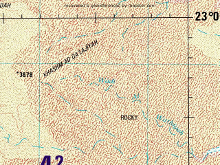 Reduced fragment of topographic map en--jog--250k--nf38-07--(1991)--N023-00_E045-00--N022-00_E046-30; towns and cities Al Hamr