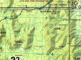 Reduced fragment of topographic map en--jog--250k--nf46-04--(1992)--N024-00_E094-30--N023-00_E096-00; towns and cities Pyingaing, Pyinth, Kyunbyintha