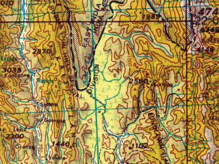 Reduced fragment of topographic map en--jog--250k--nf46-10--(1966)--N022-00_E091-30--N021-00_E093-00; towns and cities Kyunbouk, Myaukyum, Nangking
