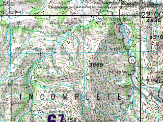 Reduced fragment of topographic map en--jog--250k--nf47-09--(1967)--N022-00_E096-00--N021-00_E097-30; towns and cities Mandalay, Ywamonggyi, Keng Hkam, Nyaunggyat