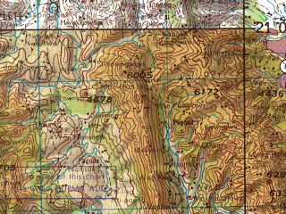 Reduced fragment of topographic map en--jog--250k--nf47-13--(1967)--N021-00_E096-00--N020-00_E097-30; towns and cities Kolon, Loi-put, Nyaungchin-myauk