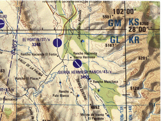 Reduced fragment of topographic map en--jog--250k--ng13-03--(1998)--N028-00_W104-00--N027-00_W102-00 in area of Laguna La Leche (dry); towns and cities Ejido Los Laureles, Ejido Santa Elena, El Mezquite