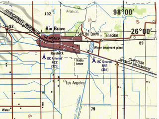 Reduced fragment of topographic map en--jog--250k--ng14-08--(1998)--N026-00_W100-00--N025-00_W098-00; towns and cities Rio Bravo, Montemorelos, Milpa, Guadalupe, Porvenir