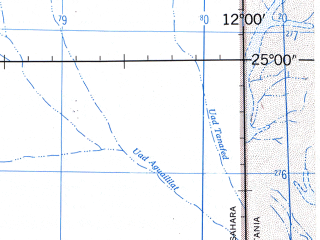 Reduced fragment of topographic map en--jog--250k--ng28-16--(1966)--N025-00_W013-30--N024-00_W012-00 in area of Sebkhet Aghzoumal