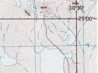 Reduced fragment of topographic map en--jog--250k--ng29-13--(1966)--N025-00_W012-00--N024-00_W010-30 in area of Sebkhet Oumm Ed Drous Telli