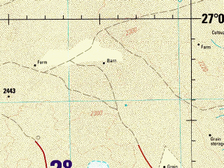 Reduced fragment of topographic map en--jog--250k--ng38-05--(1991)--N027-00_E042-00--N026-00_E043-30; towns and cities Al Quwarah