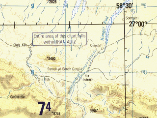 Reduced fragment of topographic map en--jog--250k--ng40-07--(1996)--N027-00_E057-00--N026-00_E058-30; towns and cities Bikh-e Kahnu, Gaspir, Karian