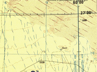 Reduced fragment of topographic map en--jog--250k--ng40-08--(1996)--N027-00_E058-30--N026-00_E060-00; towns and cities Baresnk, Baruna, Danel