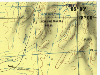 Reduced fragment of topographic map en--jog--250k--ng41-04--(1982)--N028-00_E064-30--N027-00_E066-00; towns and cities Shireza, Tagas, Jebri