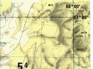 Reduced fragment of topographic map en--jog--250k--ng41-08--(1982)--N027-00_E064-30--N026-00_E066-00; towns and cities Pelar, Shank, Bedi