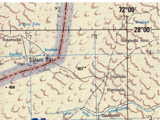 Reduced fragment of topographic map en--jog--250k--ng42-04--(1966)--N028-00_E070-30--N027-00_E072-00; towns and cities Khetolai, Khinya, Kishangarh