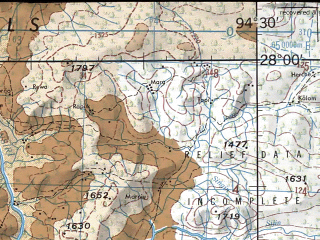 Reduced fragment of topographic map en--jog--250k--ng46-03--(1966)--N028-00_E093-00--N027-00_E094-30; towns and cities Bini, Chemir, Dhapalialgaon