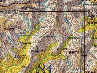Reduced fragment of topographic map en--jog--250k--ng46-08--(1967)--N027-00_E094-30--N026-00_E096-00; towns and cities Longsom, Miku, Bangali