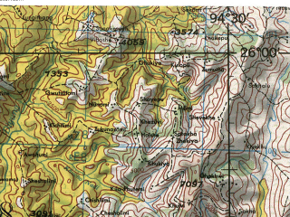 Reduced fragment of topographic map en--jog--250k--ng46-11--(1985)--N026-00_E093-00--N025-00_E094-30; towns and cities Purana Dhansiri, Sarkher Bashi, Sathazum