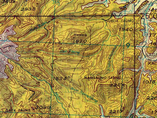 Reduced fragment of topographic map en--jog--250k--ng46-16--(1967)--N025-00_E094-30--N024-00_E096-00; towns and cities Minya, Pinkha, Myene
