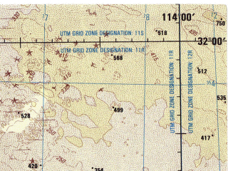 Reduced fragment of topographic map en--jog--250k--nh11-03--(1998)--N032-00_W116-00--N031-00_W114-00; towns and cities Coyote, Lazaro Cardenas, Buenavista