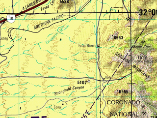 Reduced fragment of topographic map en--jog--250k--nh12-02--(1988)--N032-00_W112-00--N031-00_W110-00; towns and cities Sierra Vista, Nogales, Green Valley, Sierra Vista Southeast, Agua Zarca