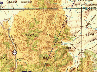Reduced fragment of topographic map en--jog--250k--nh13-05--(1969)--N031-00_W106-00--N030-00_W104-00; towns and cities El Comedor, Marfa, Valentine