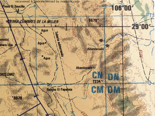 Reduced fragment of topographic map en--jog--250k--nh13-10--(1998)--N029-00_W108-00--N028-00_W106-00 in area of Laguna Bastillos; towns and cities Chihuahua, Tutuaca, Ojo De Agua, Concepcion