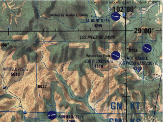 Reduced fragment of topographic map en--jog--250k--nh13-12--(1998)--N029-00_W104-00--N028-00_W102-00; towns and cities Hacebuches, Ejido Alamos De San Antonio, La Union