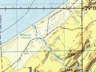 Reduced fragment of topographic map en--jog--250k--nh29-13--(1973)--N029-00_W012-00--N028-00_W010-30; towns and cities El Aioun Du Draa