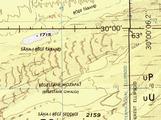 Reduced fragment of topographic map en--jog--250k--nh41-10--(1996)--N030-00_E061-30--N029-00_E063-00; towns and cities Amir Chah, Juzzak, Sor