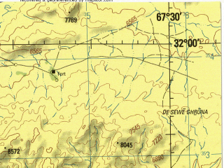 Reduced fragment of topographic map en--jog--250k--nh42-01--(1988)--N032-00_E066-00--N031-00_E067-30; towns and cities Angizay, Banau Kheyl, Jaldak