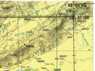 Reduced fragment of topographic map en--jog--250k--nh42-06--(1982)--N031-00_E067-30--N030-00_E069-00; towns and cities Chinijan, Dirgi, Sangan