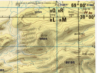 Reduced fragment of topographic map en--jog--250k--nh42-10--(1982)--N030-00_E067-30--N029-00_E069-00; towns and cities Khairwah, Khajjak, Lahri