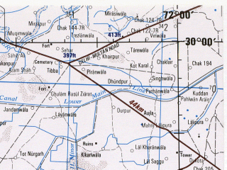 Reduced fragment of topographic map en--jog--250k--nh42-12--(1982)--N030-00_E070-30--N029-00_E072-00; towns and cities Sitpur, Janpur, Tarind